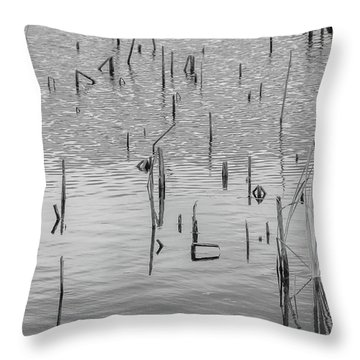 Lake Abstract Throw Pillow by Carolyn Dalessandro