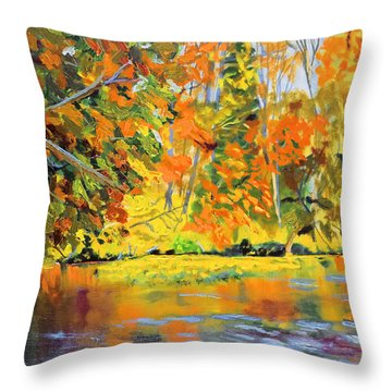 Lake Aerofloat Fall Foliage Throw Pillow
