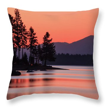 Lake Almanor Twilight Throw Pillow