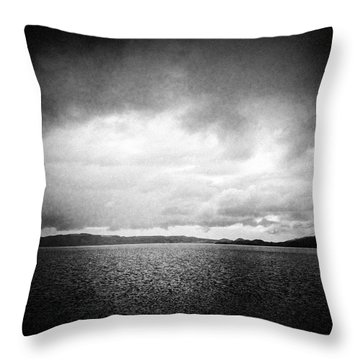 Lake And Dramatic Sky Black And White Throw Pillow