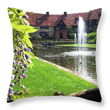 Lake And Fountain At Rhs Wisley Throw Pillow