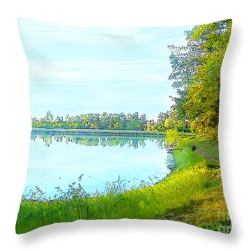 Lake And Woods Throw Pillow by Craig Walters