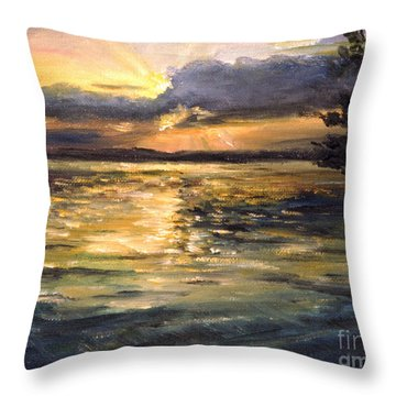 Throw Pillow featuring the painting Lake by Arturas Slapsys