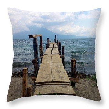 Lake Atitlan Dock Throw Pillow