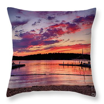 Throw Pillow featuring the photograph Lake Beach Sunset by Mark Miller