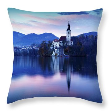 Lake Bled And The Island Church Throw Pillow
