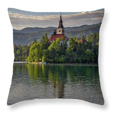 Throw Pillow featuring the photograph Lake Bled Morning #2 - Slovenia by Stuart Litoff