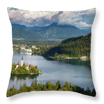 Throw Pillow featuring the photograph Lake Bled Pano by Brian Jannsen