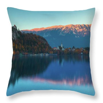 Lake Bled Panorama Throw Pillow