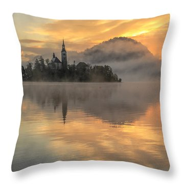 Lake Bled Sunrise Slovenia Throw Pillow