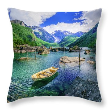 Throw Pillow featuring the photograph Lake Bondhusvatnet by Dmytro Korol