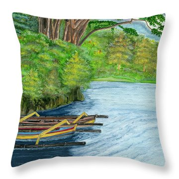 Throw Pillow featuring the painting Lake Bratan Boats Bali Indonesia by Melly Terpening