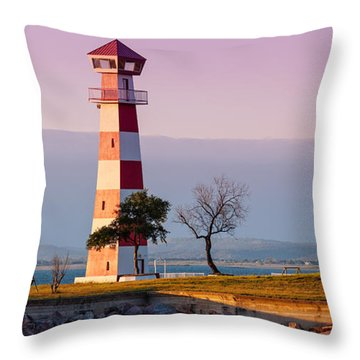Lake Buchanan Lighthouse In Golden Hour Sunset Light - Texas Hill Country Throw Pillow