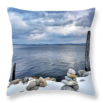 Throw Pillow featuring the photograph Lake Champlain During Winter by Brendan Reals