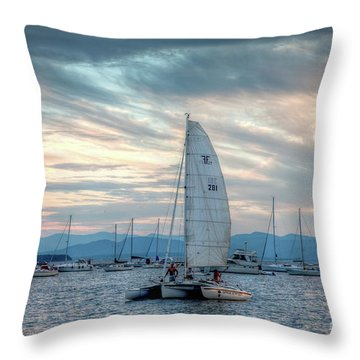 Lake Champlain Sunset Sail Throw Pillow by Susan Cole Kelly