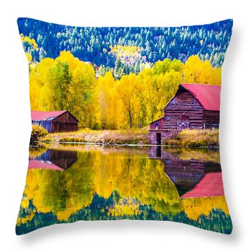 Lake City Reflections Throw Pillow by Jim McCain