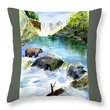 Lake Clementine Falls Bear Throw Pillow