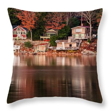 Lake Cottages Reflections Throw Pillow