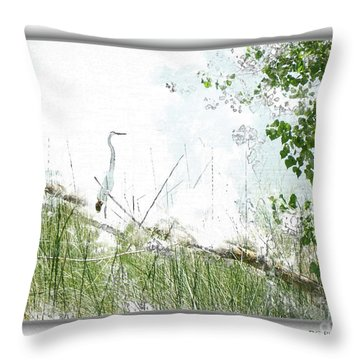 Lake Crane Throw Pillow