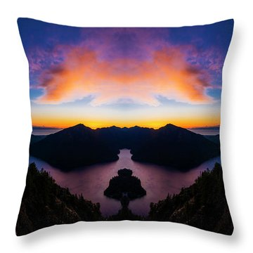 Lake Crescent Reflection Throw Pillow