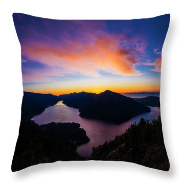 Lake Crescent Sunset Throw Pillow by Pelo Blanco Photo