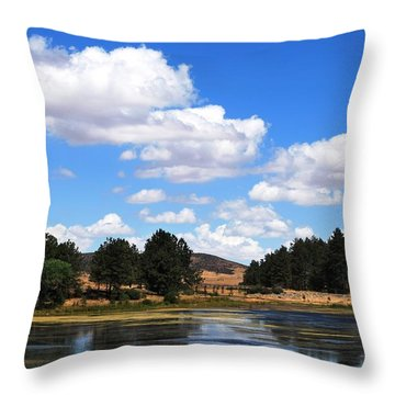 Lake Cuyamac Landscape And Clouds Throw Pillow