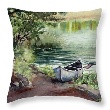 Throw Pillow featuring the painting Lake Dreams by Kris Parins