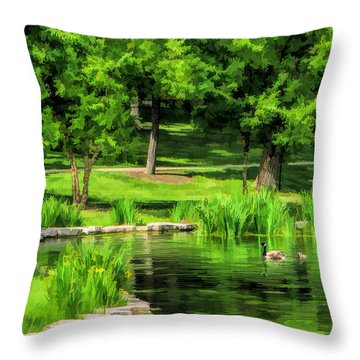 Throw Pillow featuring the painting Lake Ellyn Geese by Christopher Arndt
