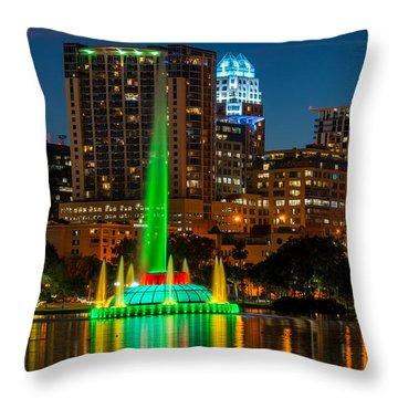 Lake Eola Fountain Throw Pillow
