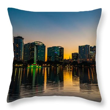 Lake Eola Sunset Throw Pillow