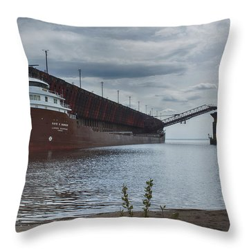 Lake Freighter Throw Pillow