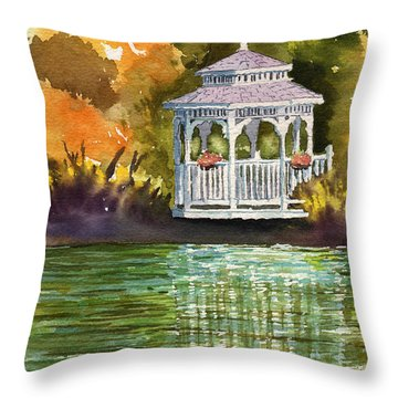 Lake Gazebo Throw Pillow
