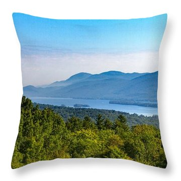 Lake George, Ny And The Adirondack Mountains Throw Pillow by Brian Caldwell