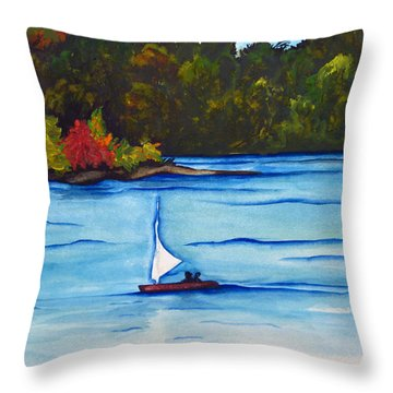 Throw Pillow featuring the painting Lake Glenville  Sold by Lil Taylor