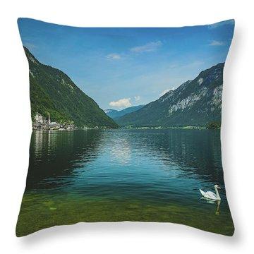 Lake Hallstatt Swans Throw Pillow
