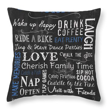 Lake House Rules Throw Pillow