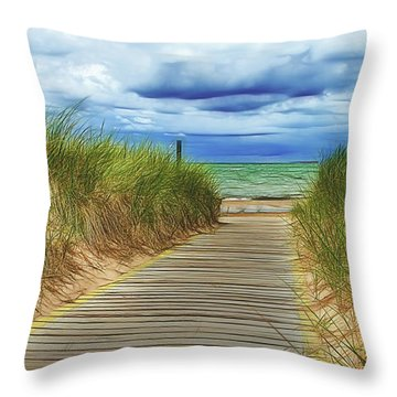 Throw Pillow featuring the photograph Lake Huron Boardwalk by Bill Gallagher