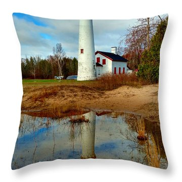 Lake Huron Lighthouse Throw Pillow