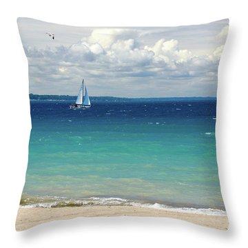 Lake Huron Sailboat Throw Pillow