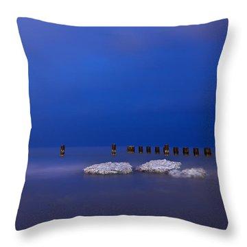 Lake Ice Chicago Throw Pillow by Steve Gadomski