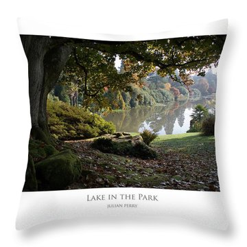 Throw Pillow featuring the digital art Lake In The Park by Julian Perry