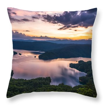 Lake Jocassee Sunset Throw Pillow