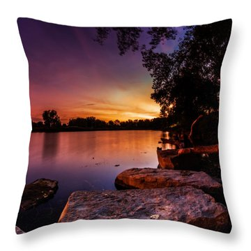 Throw Pillow featuring the photograph Lake Kirsty Twilight by Chris Bordeleau
