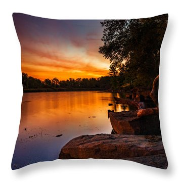 Throw Pillow featuring the photograph Lake Kirsty Twilight - Vertical by Chris Bordeleau