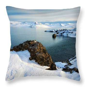 Throw Pillow featuring the photograph Lake Kleifarvatn Iceland In Winter by Matthias Hauser