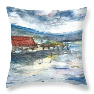Throw Pillow featuring the painting Lake Leatherwood Eureka Springs Boat Dock  by Reed Novotny