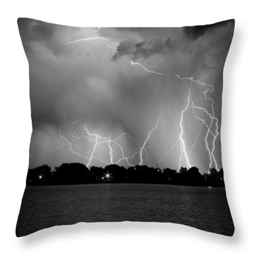 Lake Lightning Two Bw Throw Pillow by James BO  Insogna