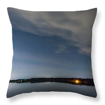 Lake Lights At Night Throw Pillow