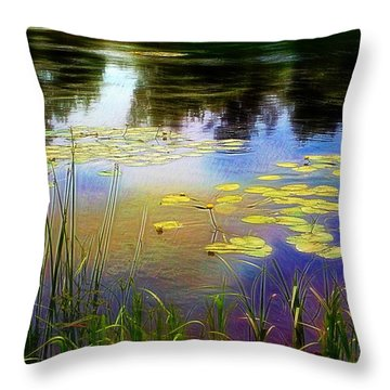 Lake Lilly Monet Style Throw Pillow by Louise Lavallee