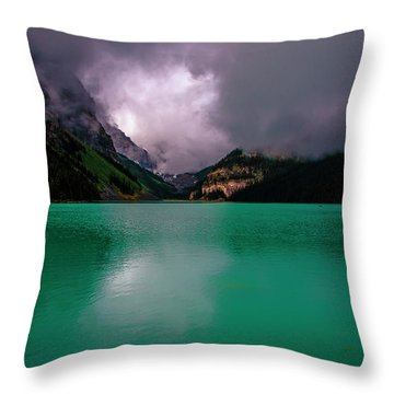 Lake Louise Before Storm Throw Pillow by Patrick Boening